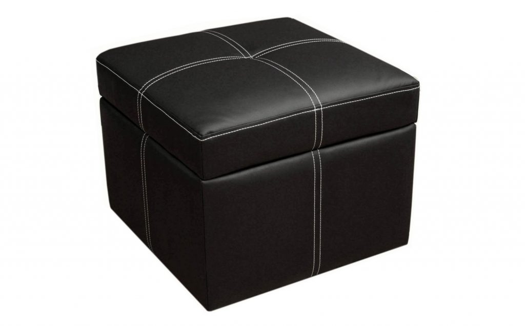 1. DHP Delaney Small Square Ottoman with Storage, Rich Faux Leather, Black