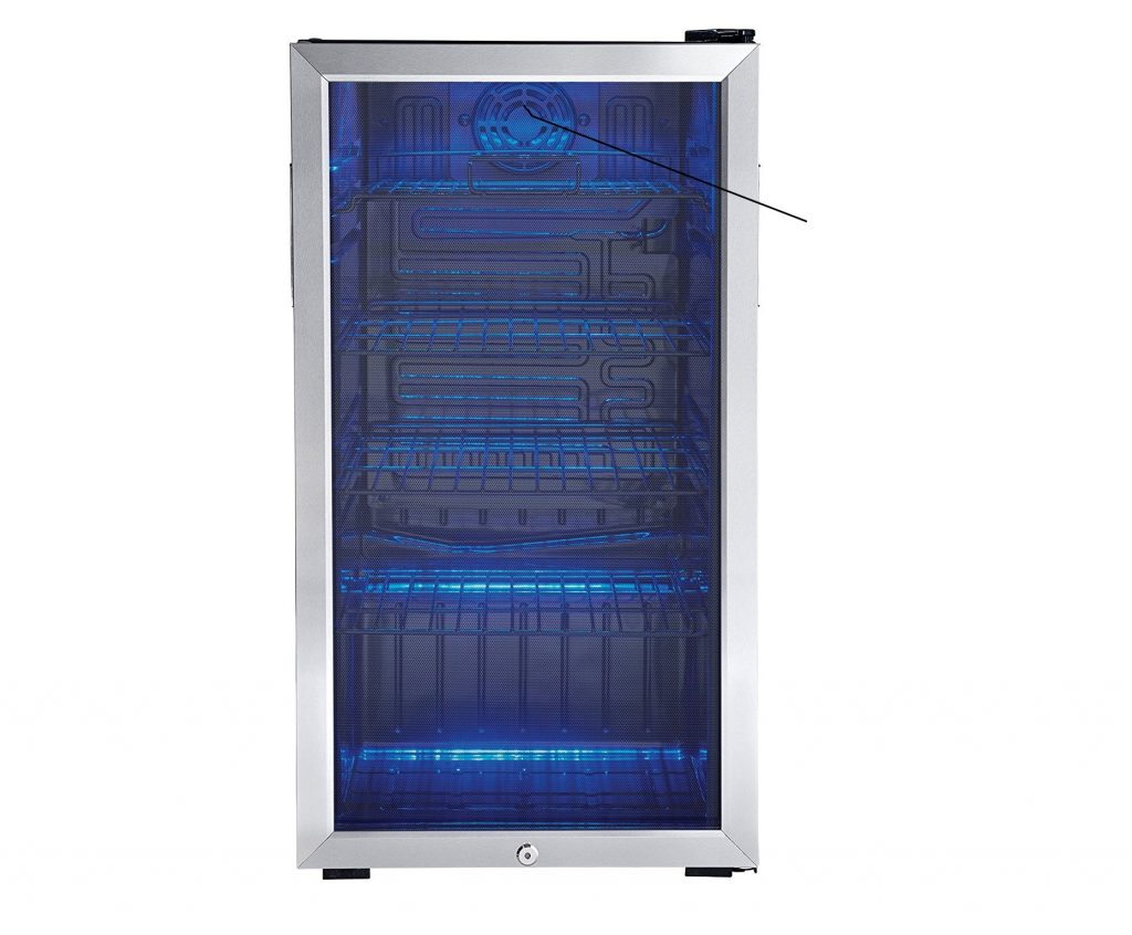 1. Danby 120 Can Beverage Center, Stainless Steel DBC120BLS