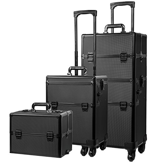 1. Koval Inc. 4-wheel Rolling 2in1 Makeup Train Cosmetic Case Black- Best Makeup Train Cases