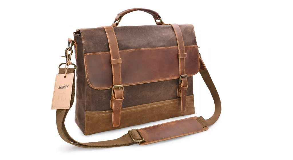1. NEWHEY Mens Messenger Bag Waterproof Canvas Leather Computer Laptop Bag 15.6 Inch Briefcase Case Vintage Retro Waxed Canvas Genuine Leather Large Satchel Shoulder Bag College Brown