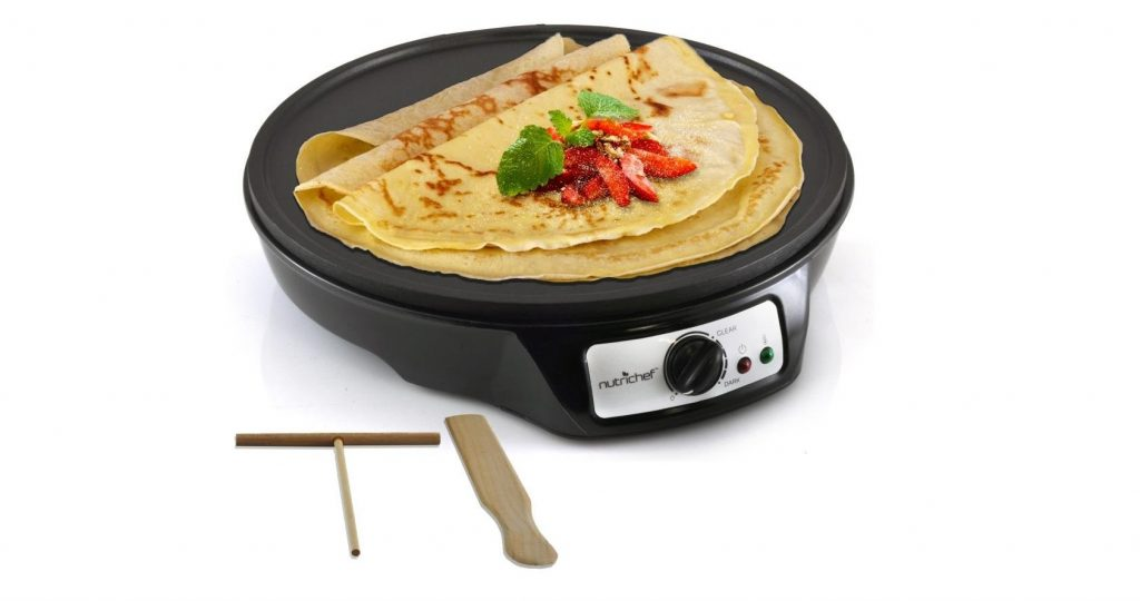 1. NutriChef Electric Crepe Maker Griddle, 12 inch Nonstick Use also For Pancakes Blintzes Eggs & More Black (PCRM12)- Best Crepe Makers