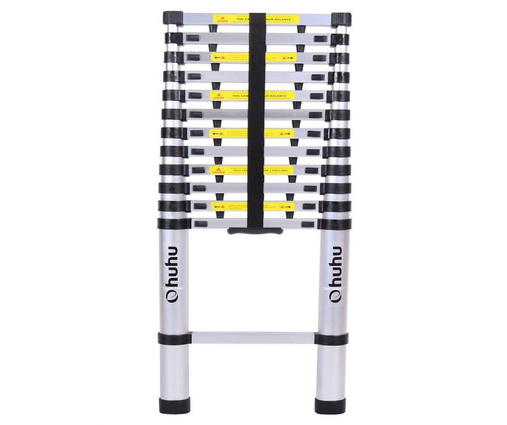 1. Ohuhu 12.5ft Aluminum Telescopic Extension Ladder, EN131 Certified Extendable Telescoping Ladder with Spring Loaded Locking Mechanism Non-slip Ribbing 330 Pound Capacity