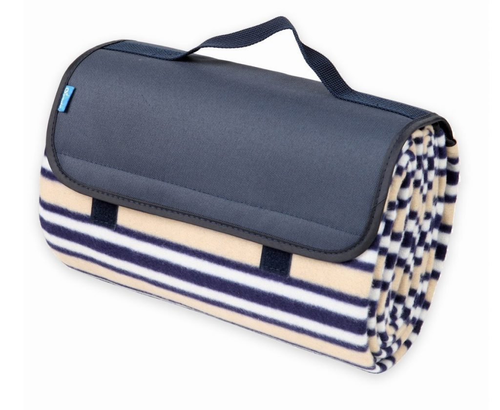1. Yodo Outdoor Water-Resistant Picnic Blanket Tote,Fall Winter Stripe
