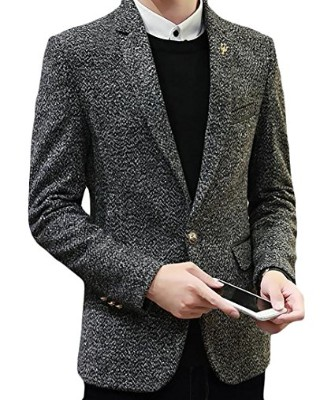 Papijam Mens Thick Notched Lapel Tweed One Button Blazer Jacket Suit Coat