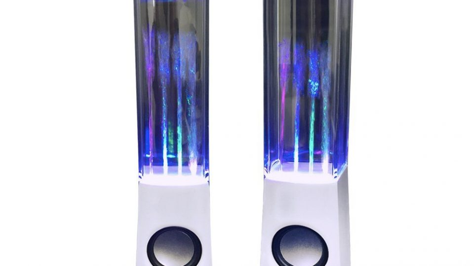10. Aolyty Colorful LED Dancing Water Fountain Light Show Sound Speaker for iPhone iPad Laptops Smartphone White