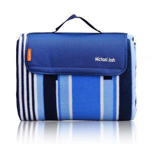 10. Extra Large Outdoor Picnic Blanket, Waterproof Backing Soft Fleece Material Camping Tote Mat
