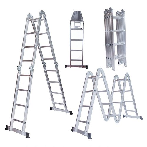 15.5ft Aluminum Multi Purpose Step Ladder Folding Telescoping extension Ladder