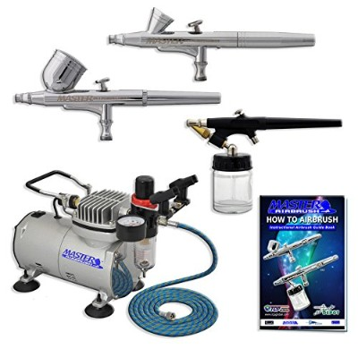 Master Airbrush Multi-purpose Professional Airbrushing System with 3 Airbrushes, 6' Air Hose