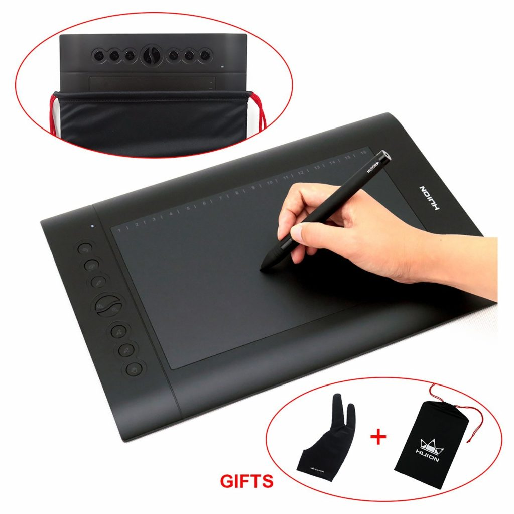 2. Huion H610 Pro Graphic Drawing Tablet with Carrying Bag and Glove