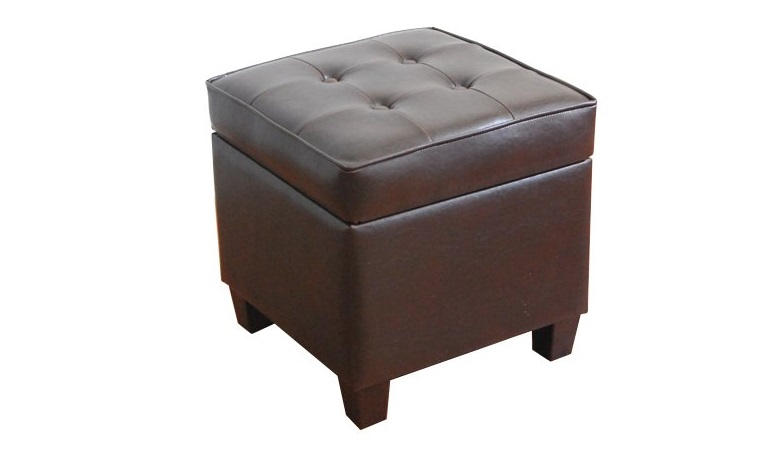 2. Kinfine Leatherette Tufted Square Storage Ottoman with Hinged Lid, Brown