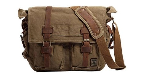 2. Men's Shoulder Bag, Berchirly Vintage Military Men Canvas Messenger Bag