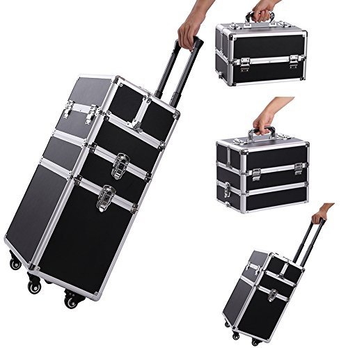 2. Professional Makeup Train Case,Portable Aluminum Rolling Cosmetic Storage Jewelry Organizer