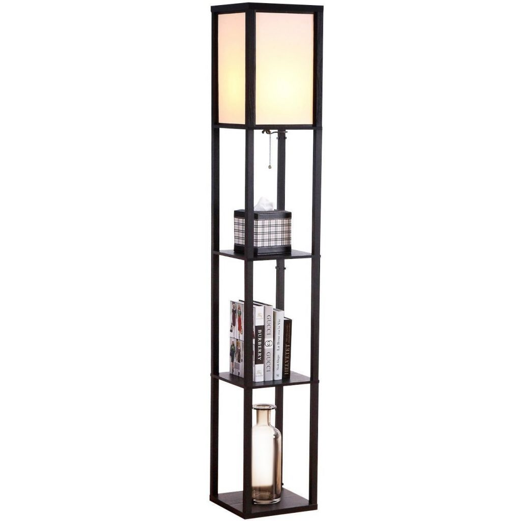 3. Brightech - Maxwell LED Shelf Floor Lamp – Modern Asian Style Standing Lamp with Soft Diffused Uplight White Shade- Wooden Frame with Convenient Open Box Display Shelves- Black