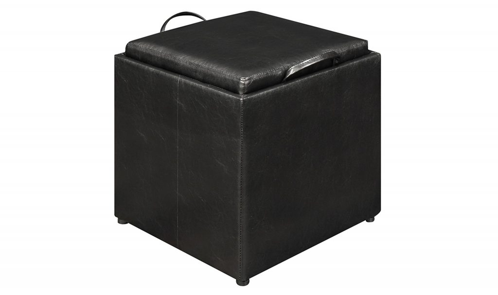 3. Convenience Concepts Designs4Comfort Park Avenue Single Ottoman with Stool, Black