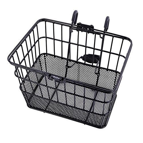 3. Ohuhu Rust-Proof Quick Release Front Handlebar Bicycle Lift Off Basket - Best Bike Baskets