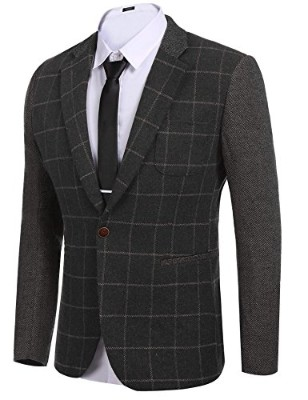 314cfa8aba51  4 COOFANDY Men s Elegant Regular Fit One Button Plaid Tweed Tuxedo Suit Blazer  Jacket