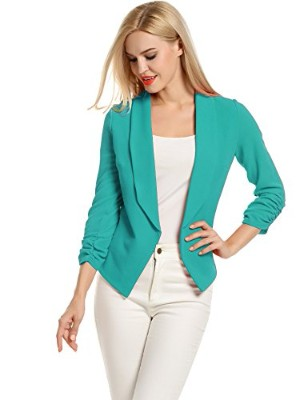 POGT Women 3:4 Sleeve Blazer Open Front Cardigan Jacket Work Office Blazer