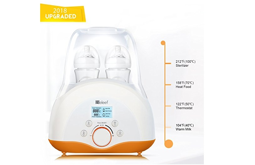 4. Baby Bottle Warmer, Bottle Sterilizer & Smart Thermostat 4-in-1 with Fast Transit Heat, Real Time Temperature LCD Monitor and Precise Temperature Control