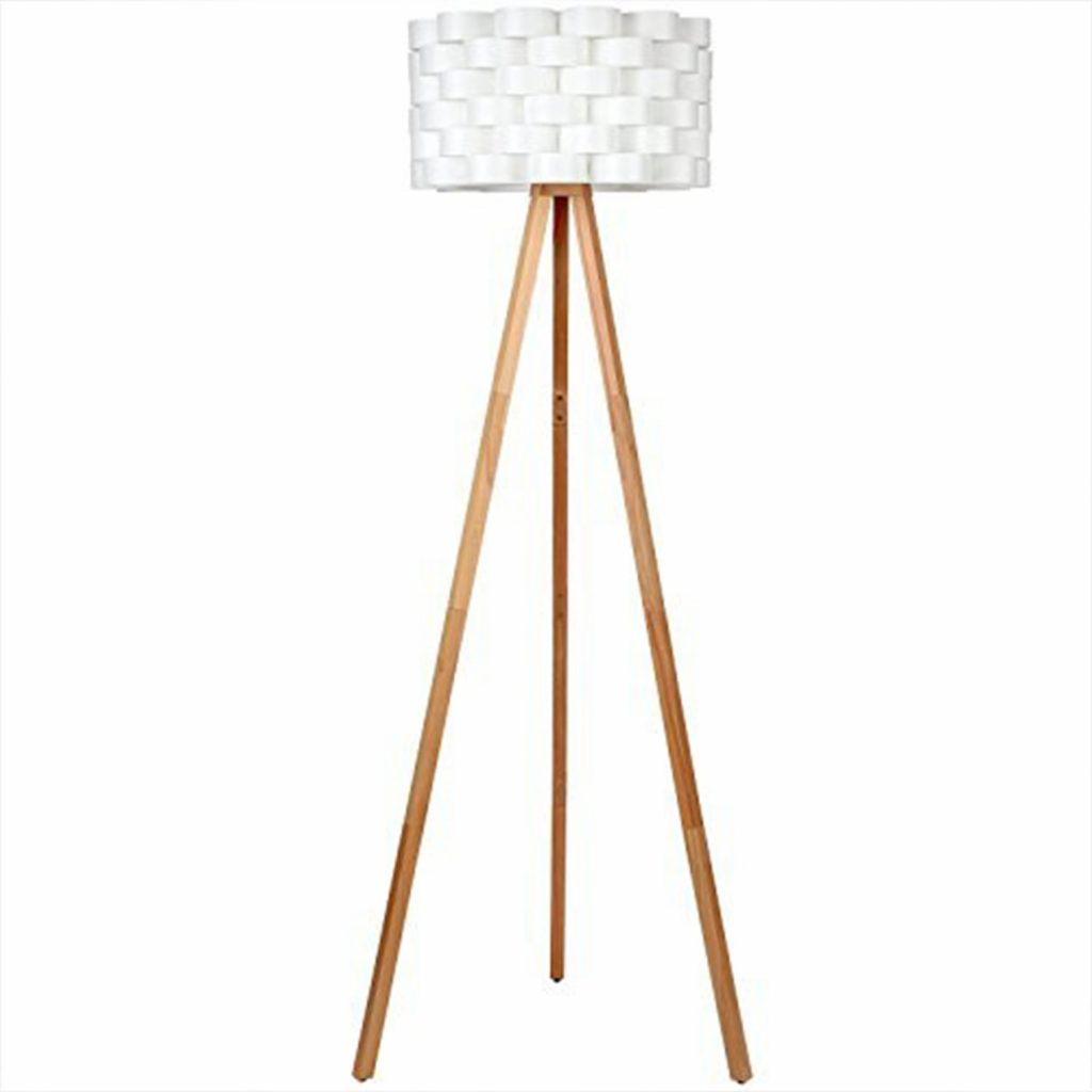 4. Brightech Bijou LED Tripod Floor Lamp Contemporary Design for Modern Living Rooms - Soft, Ambient Lighting, Tall Standing Easel Survey Lamp for Bedroom, Family Room, or Office - Natural Wood Color