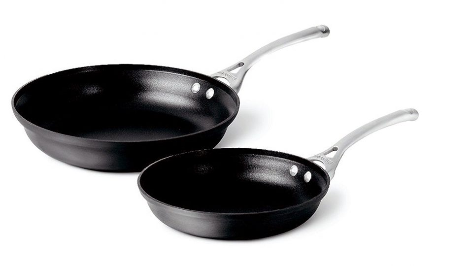 4. Calphalon Contemporary Hard-Anodized Aluminum Nonstick Cookware, Omelette Fry Pan, 10-inch and 12-inch Set, Black