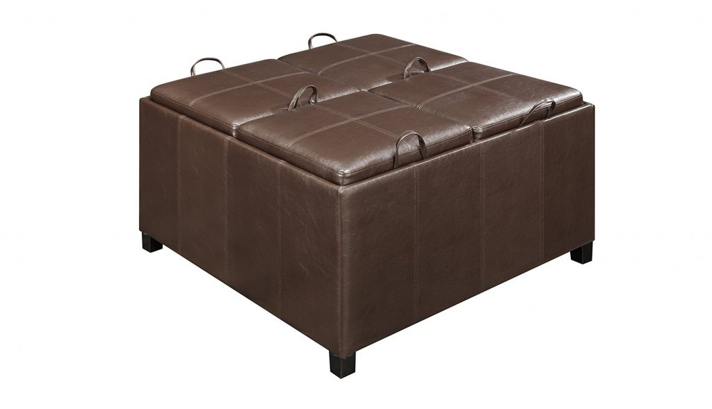 4. Convenience Concepts Designs4Comfort Times Square Ottoman with 4 Tray Tops, Espresso Faux Leather
