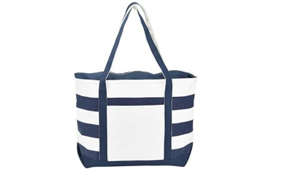 4. DALIX Striped Boat Bag Premium Cotton Canvas Tote Black, Red, Pink, Navy Blue, Purple