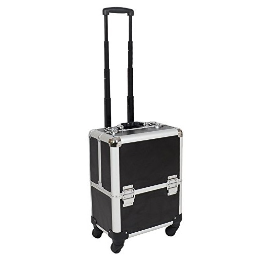 4. OGIMA Professional Rolling Makeup Case Cosmetic Train Box Trolley (Black)
