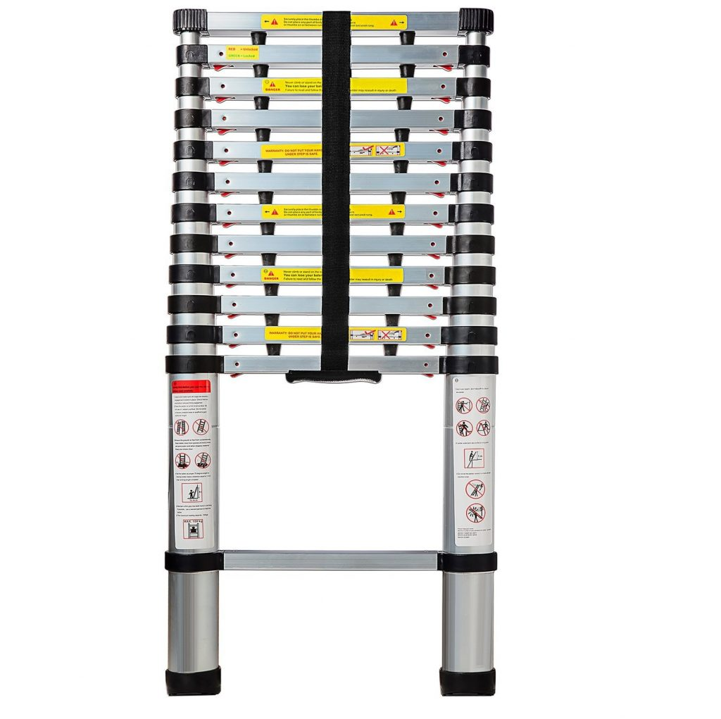 4. OxGord Aluminum Telescopic 12.5 Feet Heavy Duty Extendable Work, Light Weight Multi-Purpose Ladder - Max 330 lbs. Capacity