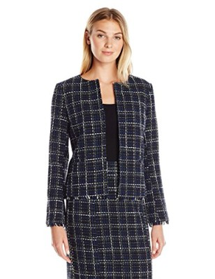 Lark & Ro Women's Windowpane Tweed Jacket