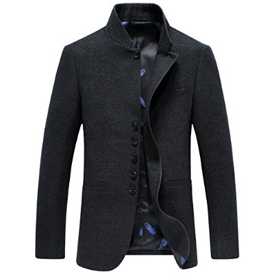 SUNNY SHOP Mandarin Collar Blazer Jacket for Men Smart Casual Wool Tweed Sports Jackets