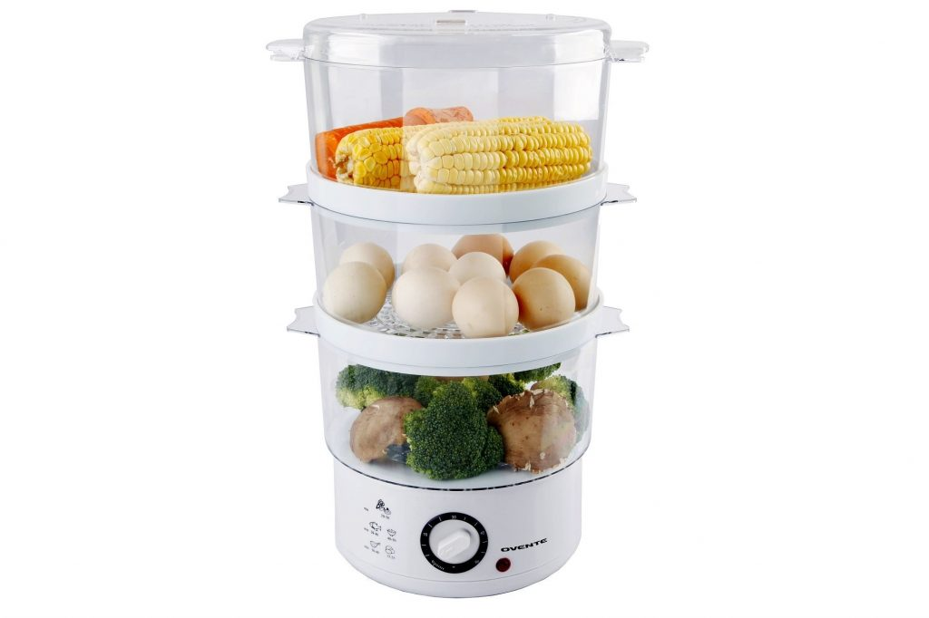 5. Ovente 3-Tier Electric Steamer for Vegetables and Food with Timer, 7.5-Quart, 400-Watts, Auto Shut-Off Feature, White (FS53W)