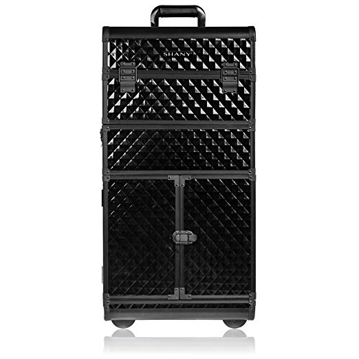 5. SHANY REBEL Series Pro Makeup Artists Rolling Train Case - Trolley Case - Curious Black Cat