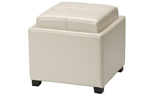 5. Safavieh Hudson Collection Harrison Cream Leather Single Tray Ottoman