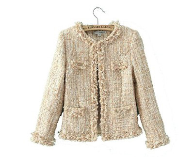 Women's Tweed Sequin Inlaid Plaid Check Long Sleeved Jacket Coat Blazer 2color