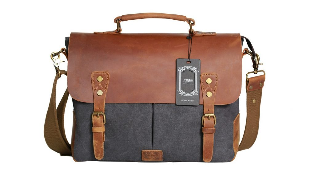 6. Wowbox Messenger Satchel bag for men and women,Vintage canvas real leather 14-inch Laptop Briefcase