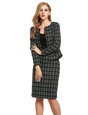 BEAUTYTALK Women's Tweed Jacket and Back Split Skirt Business Blazer Set