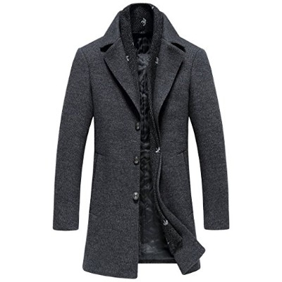 SUNNY SHOP Men's Wool Long Trench Coat Winter Wool Blends Tweed Business Parka Jackets