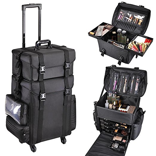 7. AW 2in1 Black Soft Sided Rolling Makeup Case Oxford Fabric Cosmetic