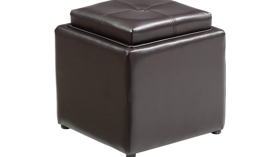 7. Hodedah Storage Ottoman with Wood Flip Over Tray, Brown
