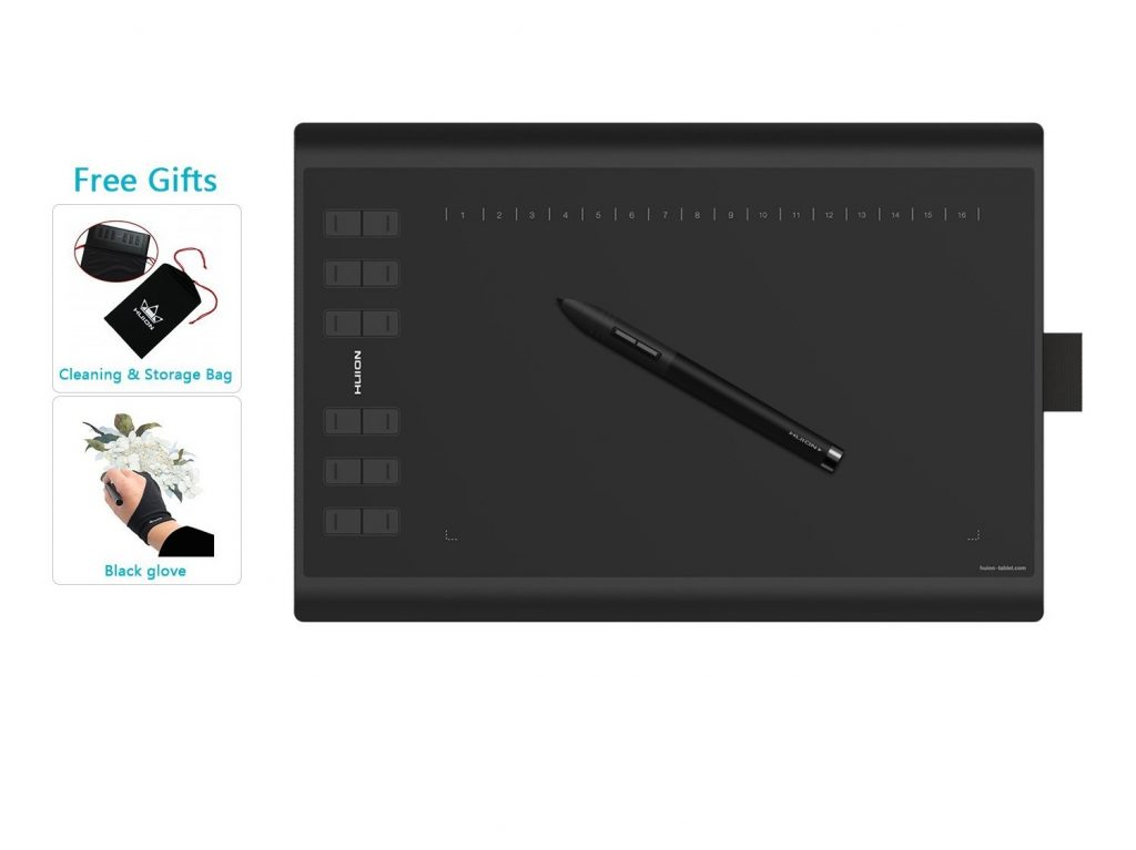 7. Huion New 1060 Plus Graphic Drawing Tablet with 8192 Pen Pressure 12 Express Keys and Built-in 8GB MicroSD Card