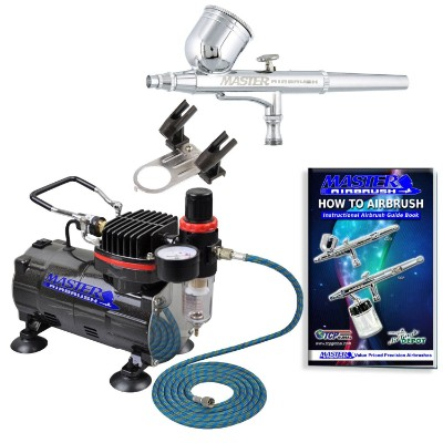 Master Airbrush Multi-purpose Gravity Feed Dual-action Airbrush Kit with 6 Foot Hose