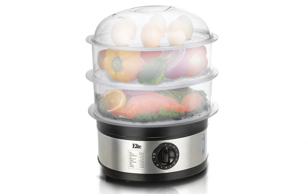 8. Elite Platinum EST-2301 Maxi-Matic BPA-Free 8.5 Quart 3-Tier Food Steamer, Stainless Steel
