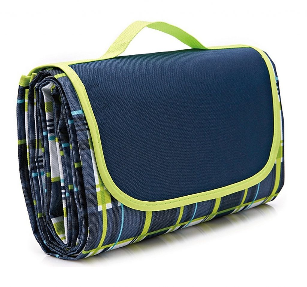 8. Family Picnic Blanket with Tote, Extra Large Foldable and Waterproof Camping Mat