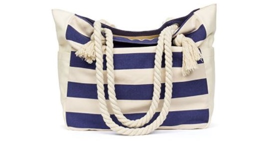 8. Malirona Large Beach Travel Tote Bag Canvas Shoulder Bag with Cotton Rope Handle
