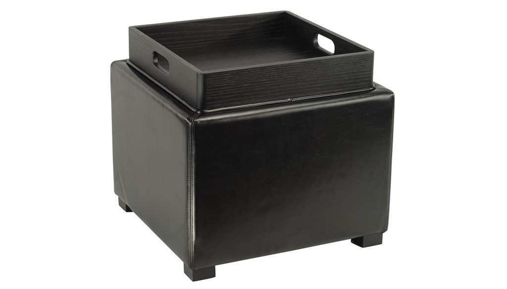 8. Safavieh Hudson Collection Kaylee Leather Single Tray Square Storage Ottoman, Black