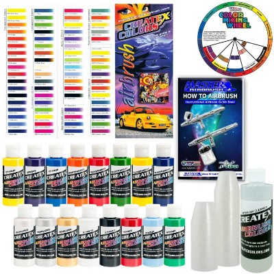 Createx KIT-SUPER16 Airbrush Super Starter Kit with Pack of 100 - 1 Oz.