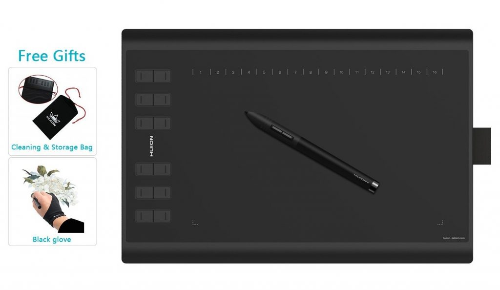9. Huion New 1060 Plus Graphic Drawing Tablet with 8192 Pen Pressure 12 Express Keys and Built-in 8GB MicroSD Card