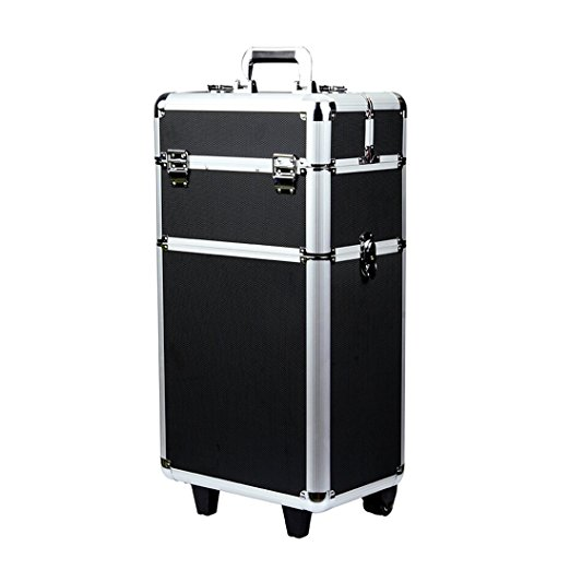 9. Rolling Makeup Case 3 in 1 Aluminum Professional Trolley Train Case Organizer Cosmetic Box Wheeled Artist Travel