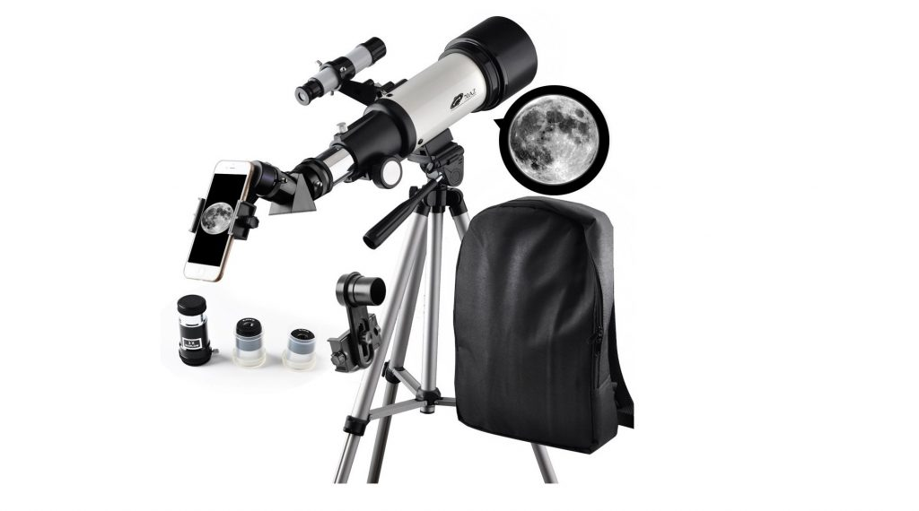 9. Telescope 70mm Apeture Travel Scope 400mm AZ Mount - Good Partner to View Moon and Planet - Good Travel Telescope with Backpack for Kids and Beginners- Best Telescopes