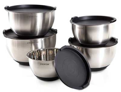 8. PriorityChef Mixing Bowls With Lids and Non Slip Silicone Bottom